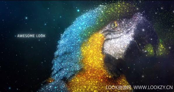AE模板-闪耀星空粒子汇聚星系空间穿梭幻灯片开场模版下载