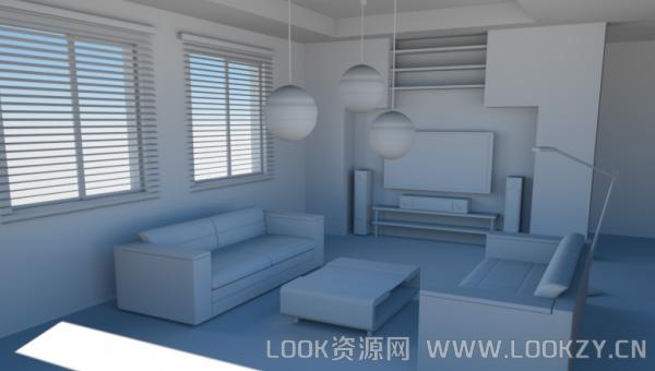 3D模型-一个简单的房间模型 格式支持.3ds .obj .c4d
