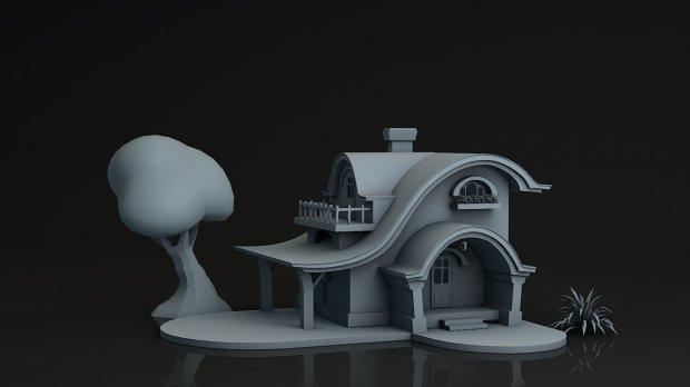 3D模型-Q版场景房子模型 格式支持.obj .c4d .fbx