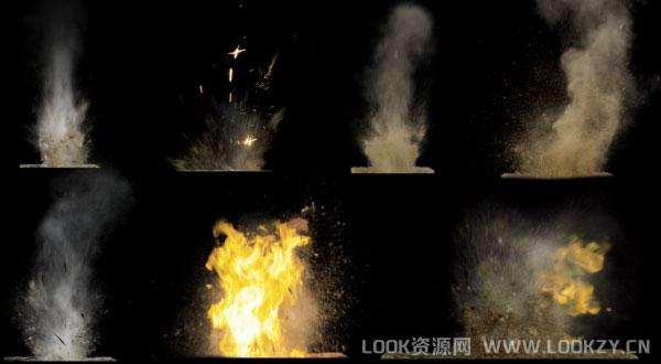 视频素材-23个尘土飞溅视频素材(含透明通道)