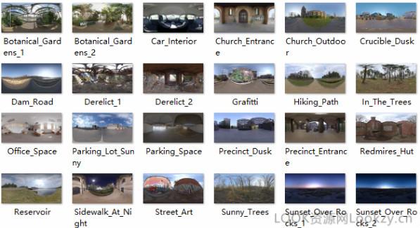 6.21G 环境、室内、天空HDRI贴图全景图素材下载