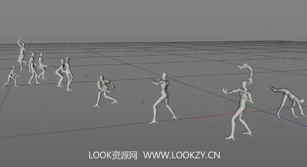 C4D工程-人物模型带有骨骼动作绑定 免费下载