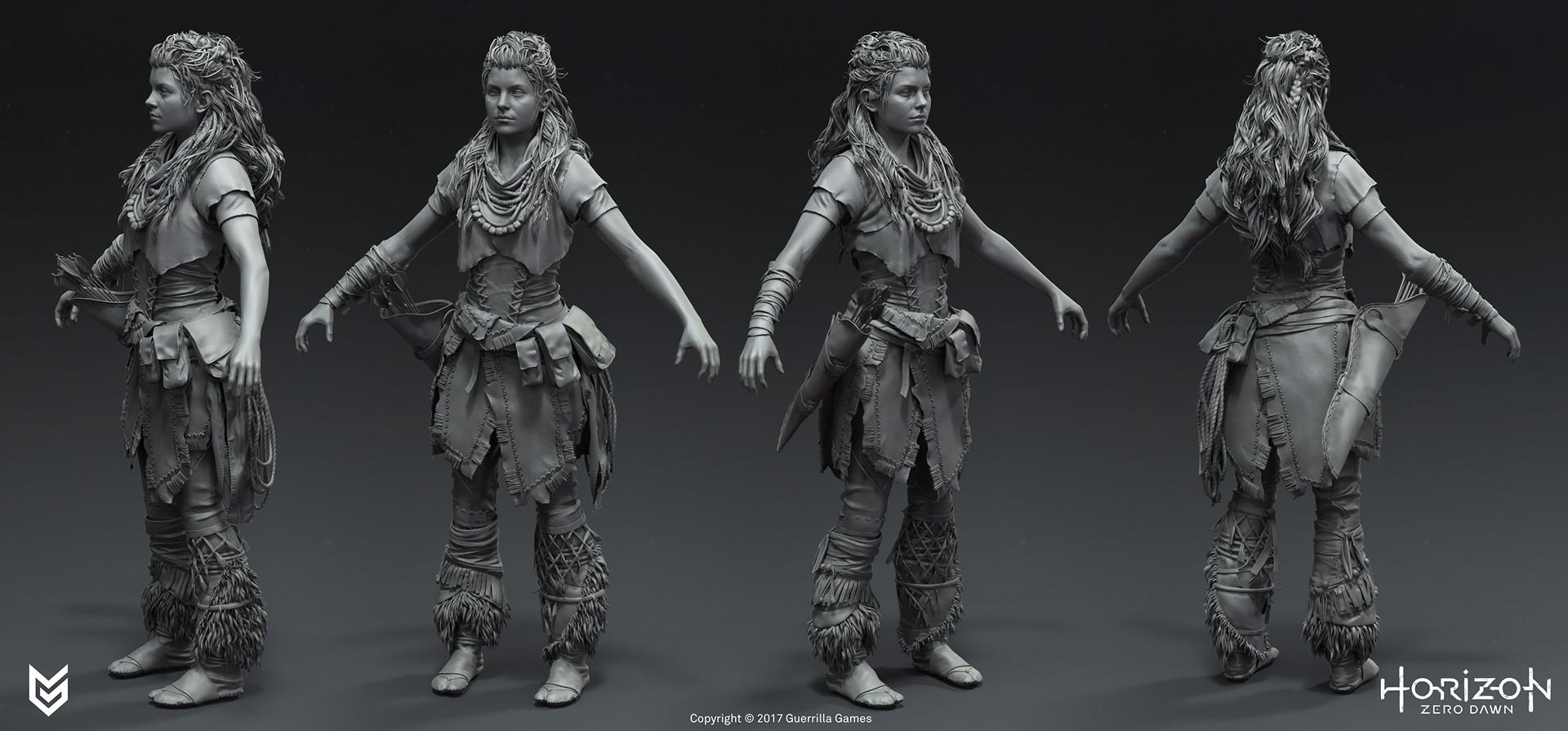 游戏《地平线:黎明时分》人物角色和机械兽概念设计