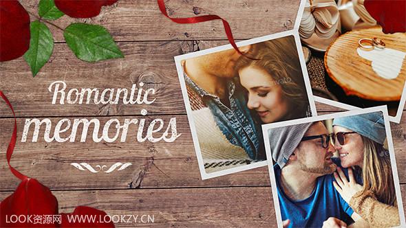 AE模板-浪漫回忆情人节婚礼花瓣幻灯片照片模板 免费下载