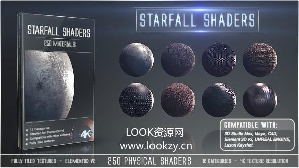 E3D预设-250种金属布料玻璃土石塑料 Element 3D材质纹理贴图Win/Mac