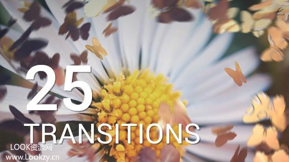 AE模板-蝴蝶飞舞浪漫标题过渡转场幻灯片模板Butterflies Transitions