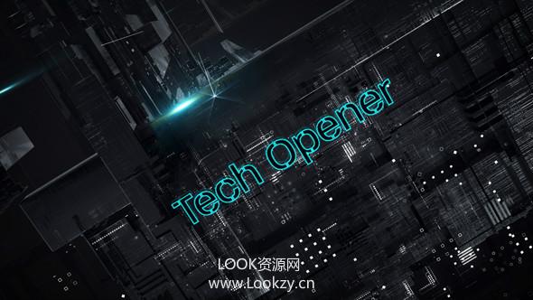 AE模板-信息技术科技三位文字标题广播介绍模板 Tech Opener