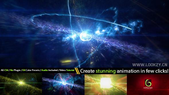 AE模板-电影空间粒子爆炸LOGO标志片头模板下载