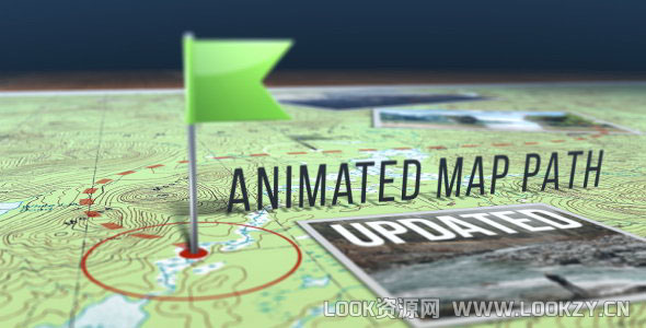 AE模板-地图点线路径标识图文展示动画模板Animated Map Path v.3