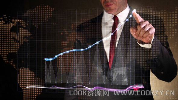 AE模板-公司企业手势图表展示LOGO片头模板 Business Success Chart