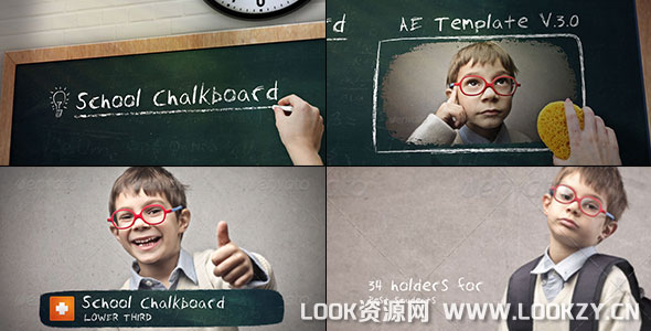 AE模板-学校黑板粉笔文字书写图片开场模板下载