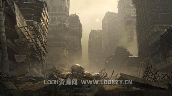 3D模型-城市废墟场景3D模型下载(Maya/FBX/OBJ/MTL)