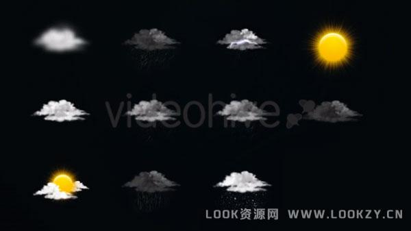 视频素材-11个天气预报云朵太阳下雨图标视频素材(含透明通道)
