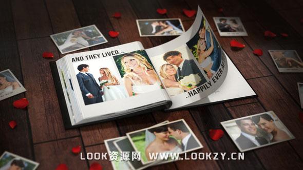 AE模板-三维浪漫婚礼情人节翻书相册动画模板