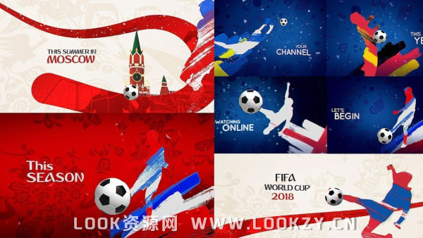 AE模板-足球世界杯水彩笔刷生长动画包装开场片头效果模板