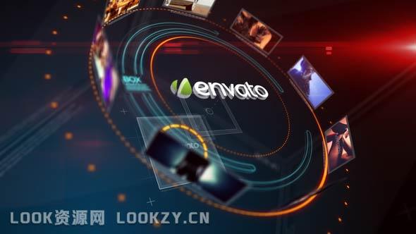 AE模板-科技感环形图片展示片头LOGO演绎动画模板
