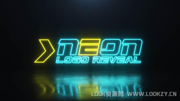 AE模板-霓虹灯俱乐部闪烁发光LOGO标志片头模板