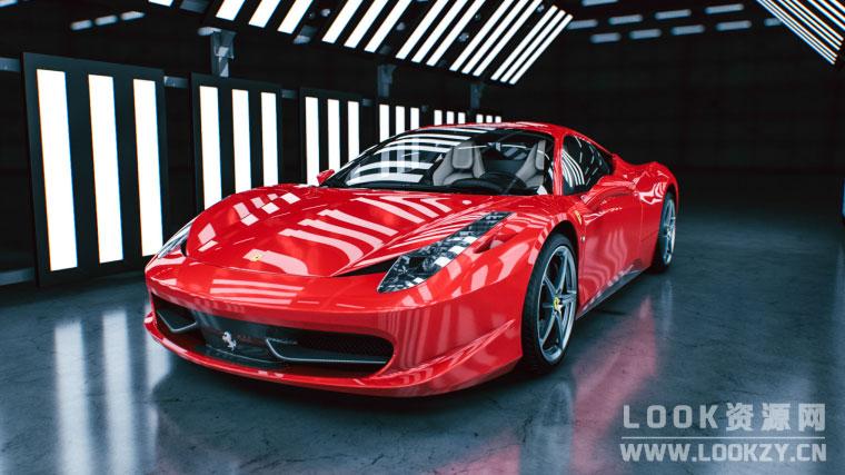 C4D预设-200种C4D车漆汽车材质预设+5组室内摄影棚环境场景预设