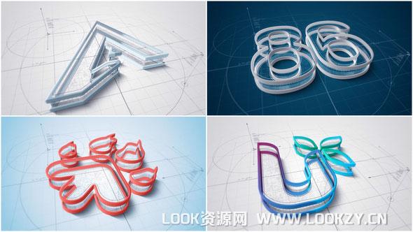 AE模板-3D建筑线条设计LOGO标志演绎片头模板 免费下载
