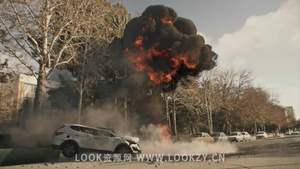 C4D教程-C4D汽车碰撞爆炸特效烟雾案例教程下载