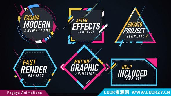 AE模板-时尚图形文字排版布局标题动画模板 Colorful Titles