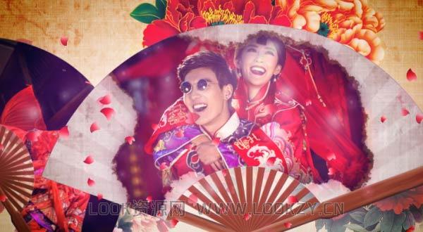 AE模板-中式浪漫婚礼开场水墨风花瓣折扇揭示相册模板