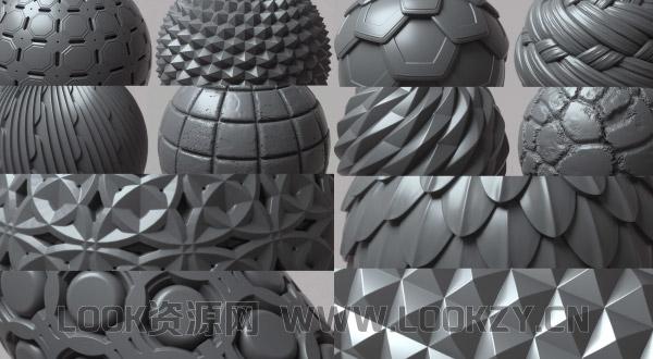 材质贴图-100张无缝连接深度置换材质纹理贴图素材
