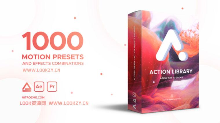 AE脚本-1000组快速制作图层物体运动出入动画预设脚本 Action Library Win/Mac