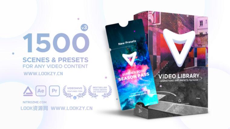 AE脚本-1500种视频特效包装动画预设兼容中英文 Win/Mac