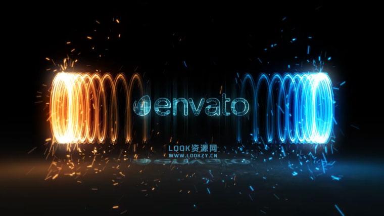 AE模板-能量漩涡环绕光线粒子LOGO片头动画展示模板