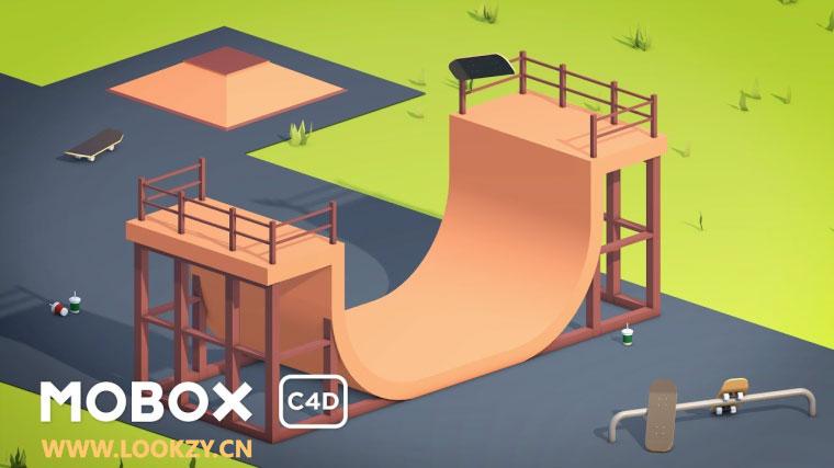 C4D教程-滑板斜坡C4D建模动画教程 Skate Park Modeling & Animation