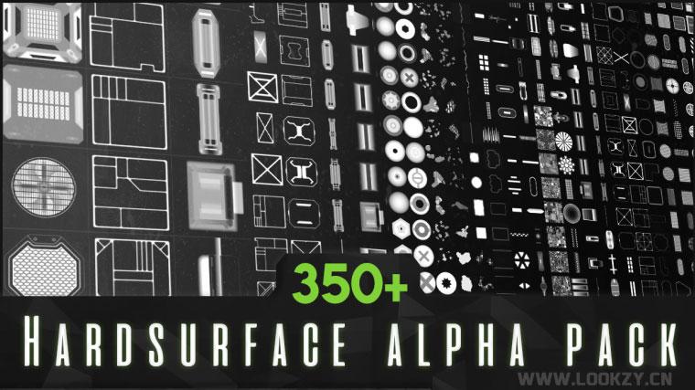 材质贴图-350种科技感硬面墙面板深度置换Alpha贴图素材
