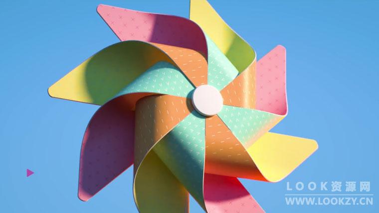 C4D教程-纸风车模型制作教程下载(含工程文件)  How to Create a Pinwheel Tutorial