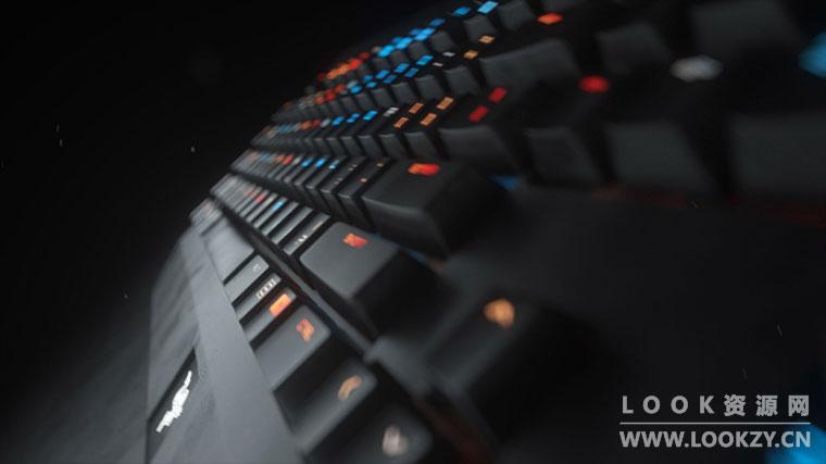 C4D/AE教程-OC渲染器制作镭射键盘产品包装解析合成教程