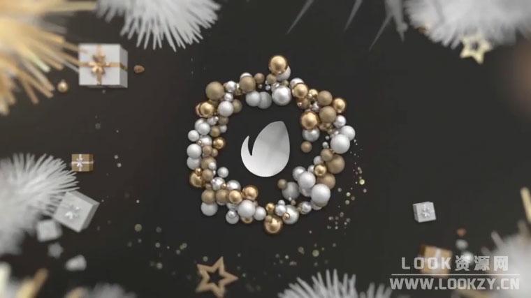 AE模板-圣诞节珠宝LOGO片头动画模板 Gold Christmas Logo