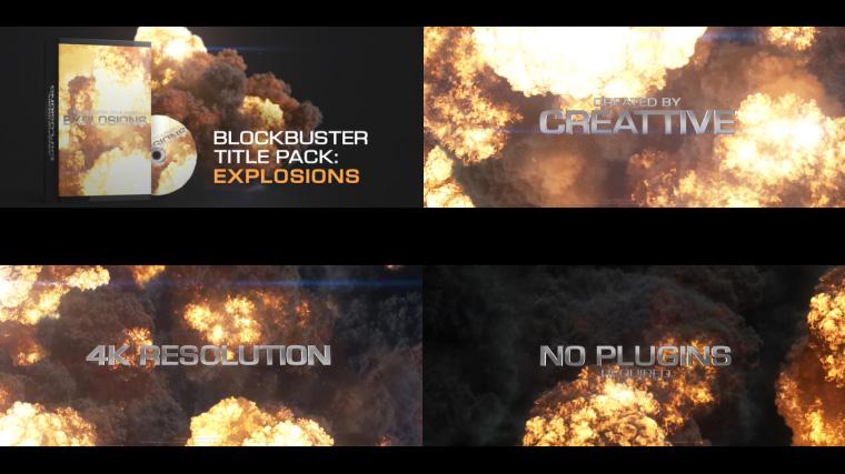 AE模板-电影大片金属标题燃烧爆炸文字动画预告片模板