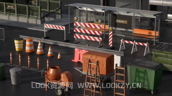 3D模型-三维城市街边设施C4D/E3D模型包含贴图