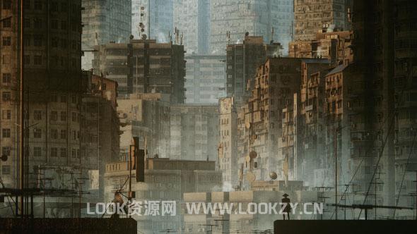3D模型-未来贫民窟楼房场景3D模型 (格式支持MAX/MA/OBJ/FBX)