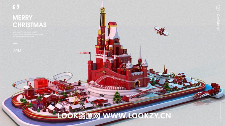 C4D工程-C4D圣诞节游乐园3D场景海报工程文件
