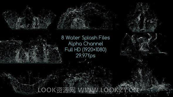 视频素材-8种水花水滴飞溅散开效果动画合成素材 含Alpha通道