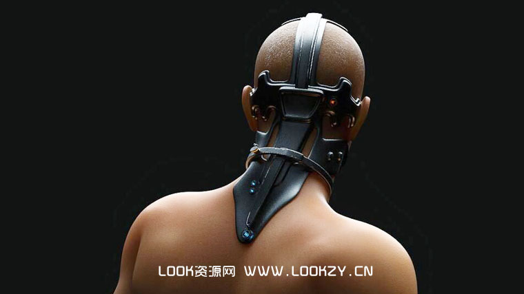 C4D模型-C4D头戴科幻装备的男性人物精细C4D模型 含材质贴图