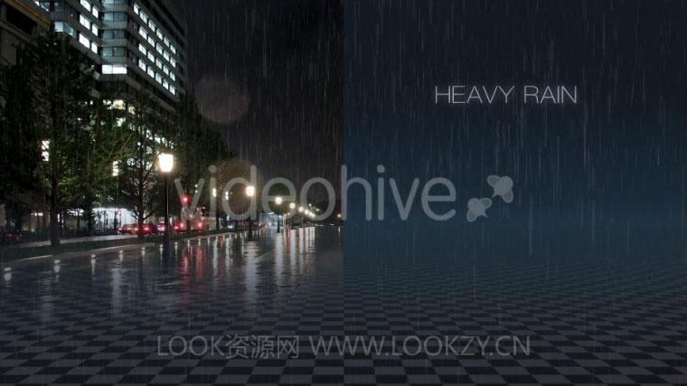 20组真实下雨场景模拟视频特效素材(带alpha透明通道+AE模板工程)