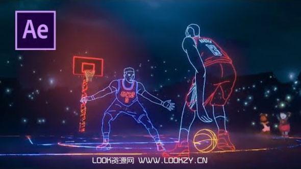 AE教程-炫酷人物线条描边轮廓发光特效制作教程 NBA Lights