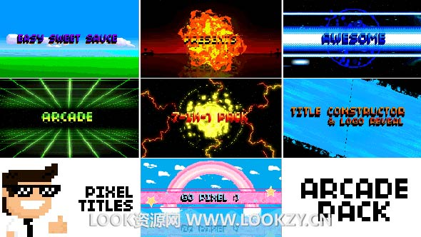 AE模板-FC游戏80年代风格像素化文字标题LOGO片头展示模板