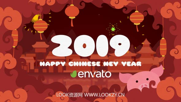 AE模板-2019猪年中国新年卡通LOGO片头模板 Chinese New Year