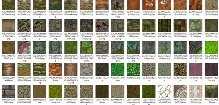 材质贴图-1254张各种手绘游戏风格的地表山石贴图材质