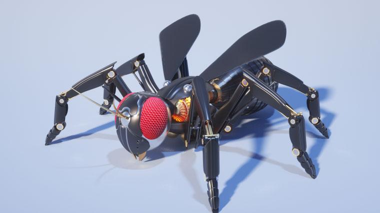 C4D工程-Octane渲染器机械黄蜂C4D工程模型含材质贴图