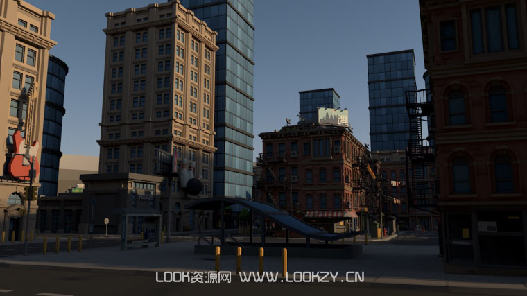 C4D模型-低面现代城市楼房C4D模型工程 含材质贴图