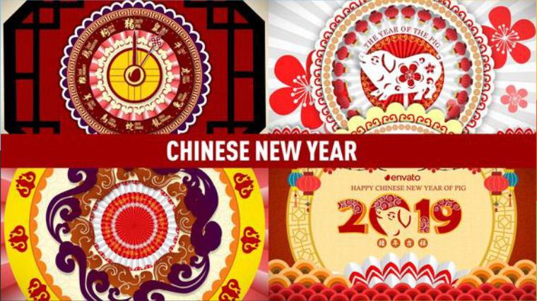 AE模板-2019新春中国剪纸画风格猪年片头动画模板