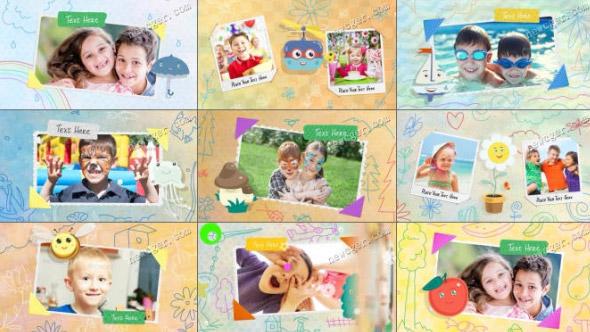 AE模版-儿童卡通涂鸦元素主题可爱宝贝相册AE模板